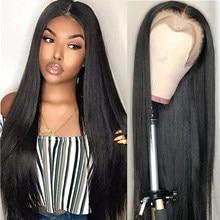Pelucas de cabello humano con encaje frontal para mujeres negras, pelo liso brasileño con densidad de 150, Color Natural