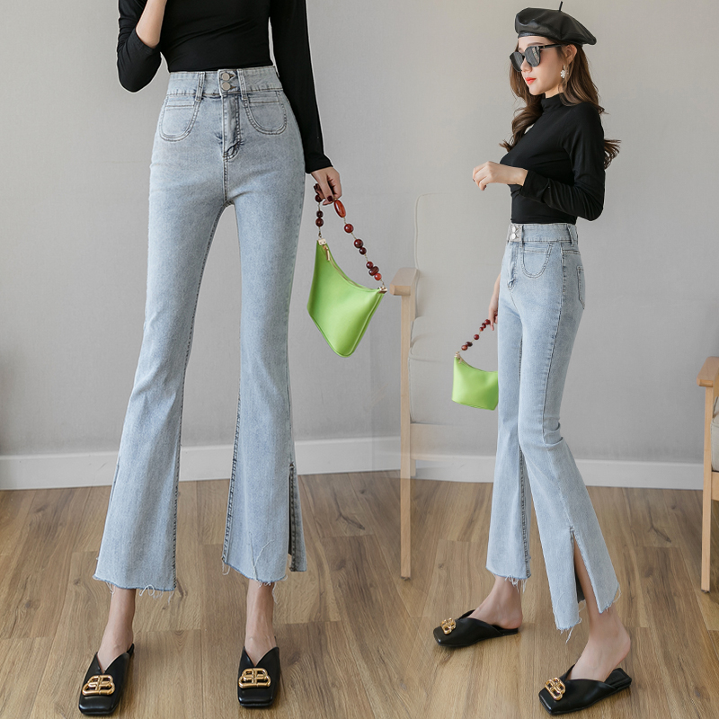 2020 Spring New Jeans Women's Small Micro-flared Pants Were Significantly Thinner Korean Version Of Slim