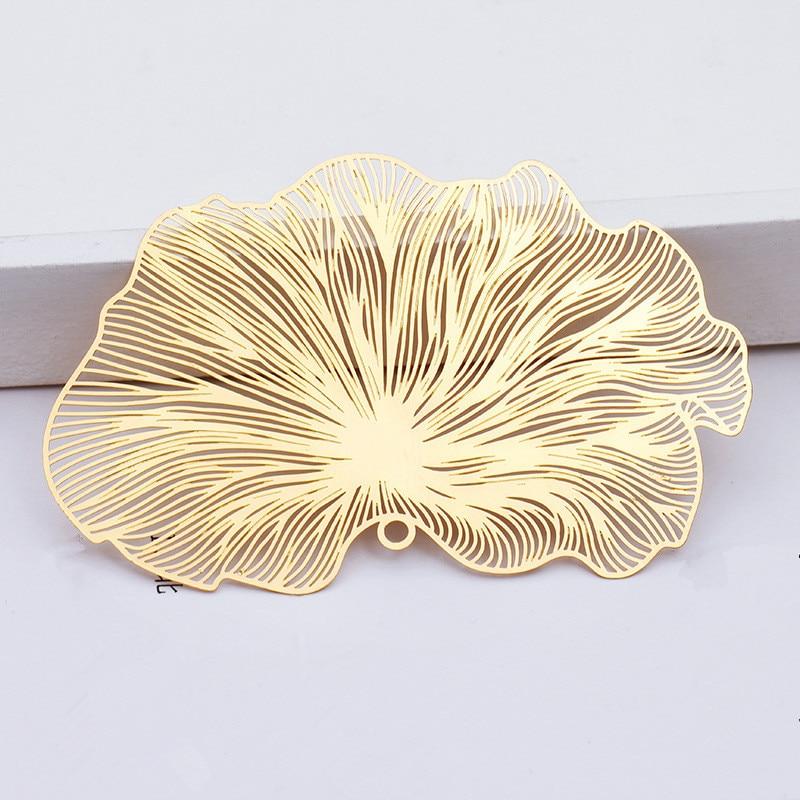 10 PCS 47*80mm Copper Sheet Filigree Wraps Hollow Out Flowers Pendant Connectors DIY Jewelry Accessories