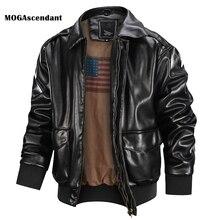 Men's Bomber Leather Jacket Autumn Winter 2020 Fashion Biker Motorcycle  Jacket Male Embroidery Outwear Coat Size XS-2XL