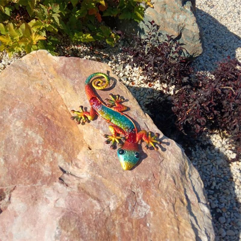 Metal Gecko Wall Decor with Glass for Home Garden Decoration and Miniatures Garden Statues Outdoor Fairy Garden Ornaments Fairy 4