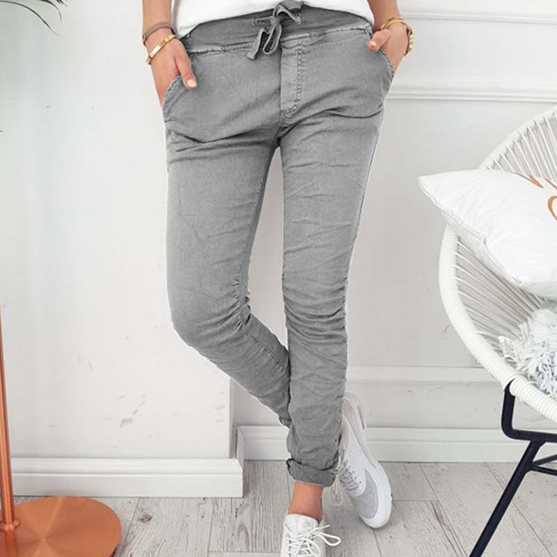 2020 Fashion Spring Autumn Skinny Women Pencil Pants Pocket Elastic Waist Trousers Casual Slim Women Pants Drawstring 846123