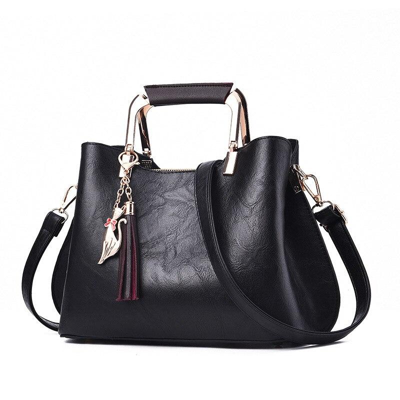 Bolso de mano para mujer bolso de hombro de cuero de PU de alta calidad para mujer bolso de compras de moda para mujer Bolso Negro para mujer