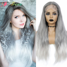 X-TRESS Ombre Grey Wig High Density Synthetic Lace Front Wig for Black/White Women Long Wavy Middle Part Lace Wig with Baby Hair