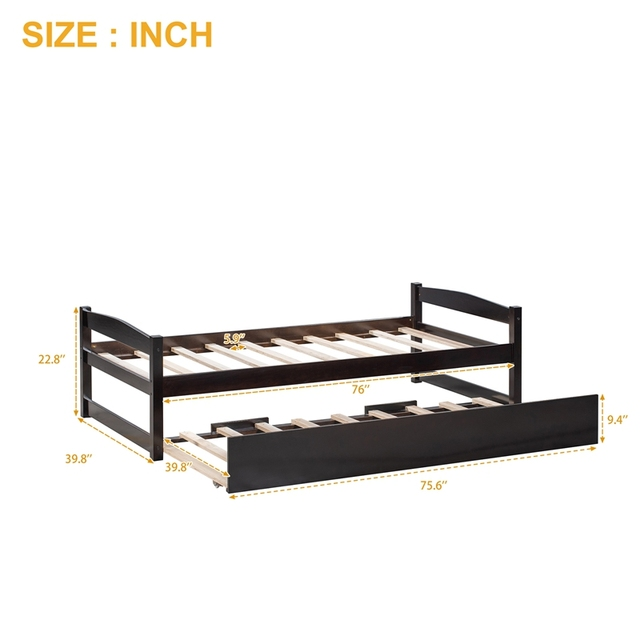 Wood Bed w/ Sliding Trundle Bed  6