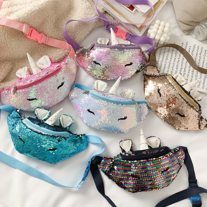 Shoulder-Belt-Bags Fanny-Pack Unicorn Sequins Children Girls Fashion New Trend Kids