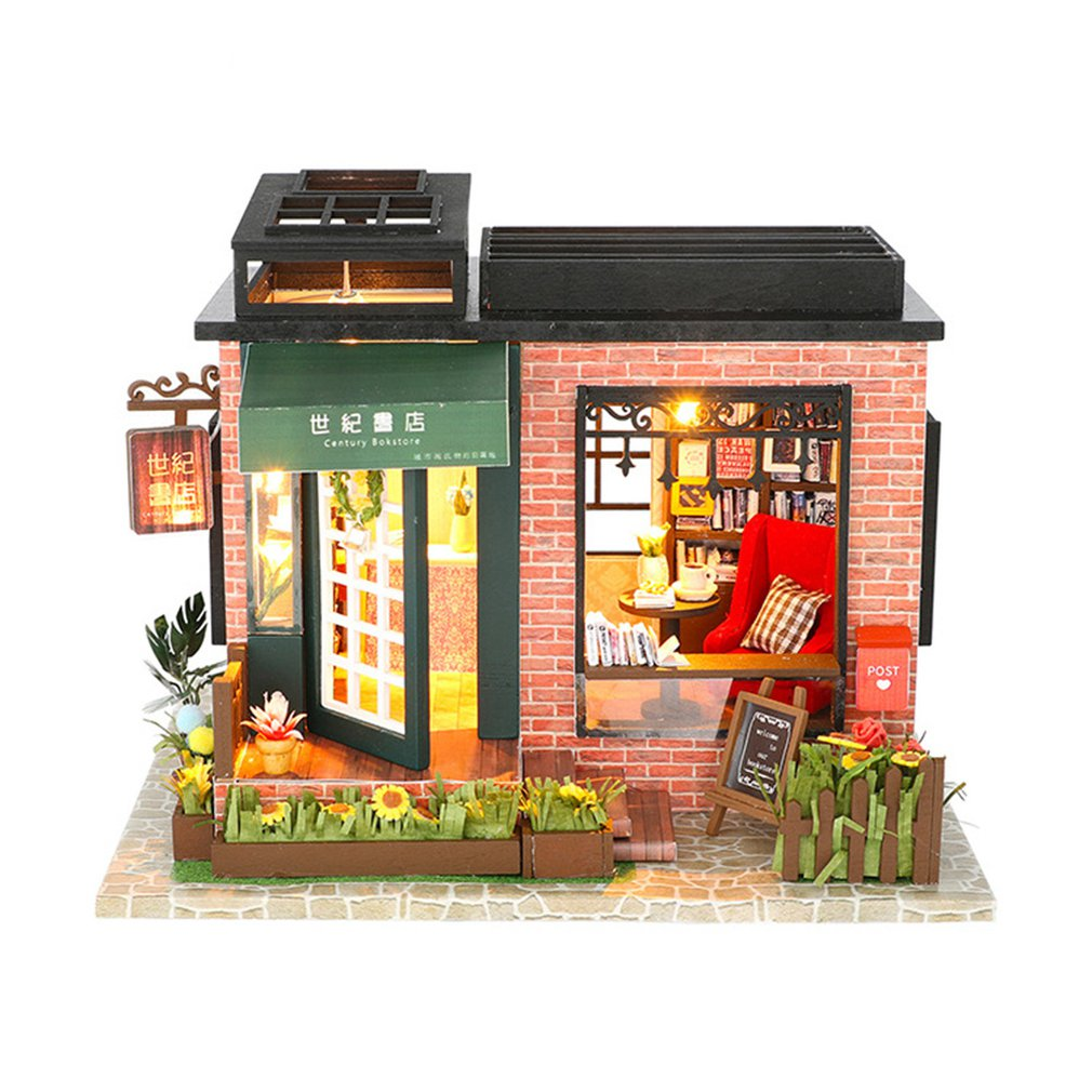Dream Childhood Mini-house Century Bookstore Wooden Hut Villa Assembly Model Exquisite Gift Kid Birthday Girl Gift