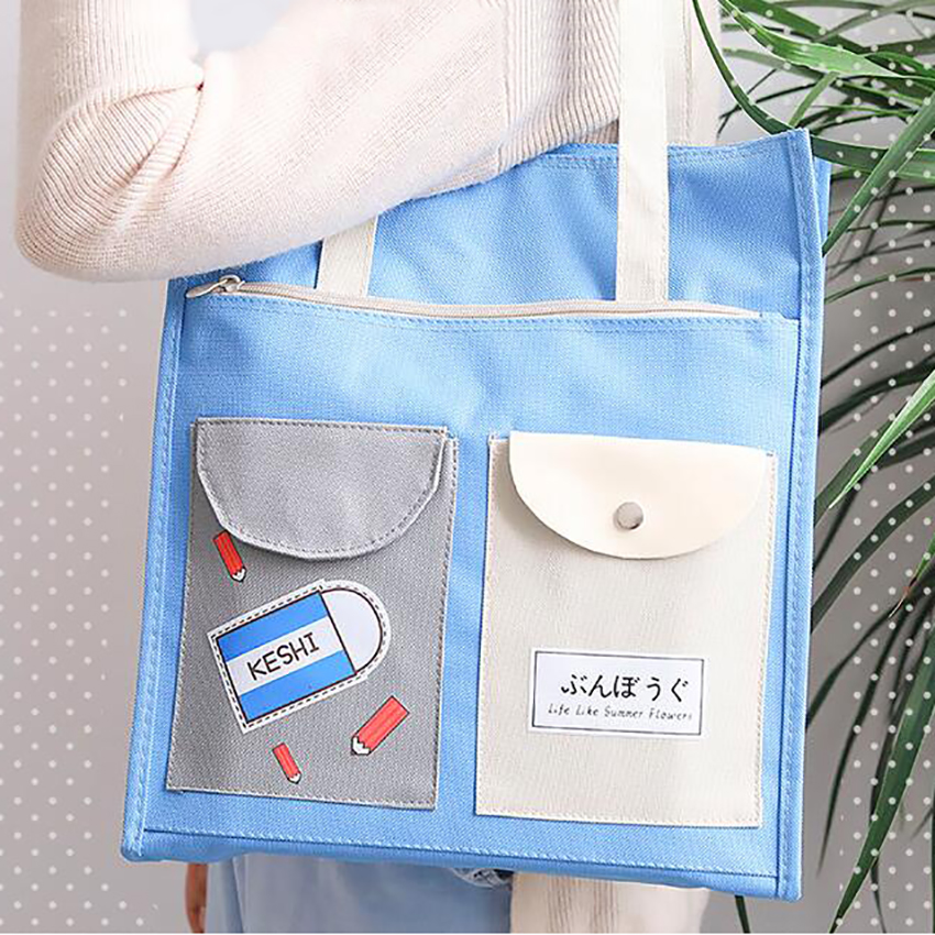 Cartoon Zipper File Folder Bag Portable Canvas Storage Bags Students Stationery Paper Document Holder Cute Handheld Art Bag