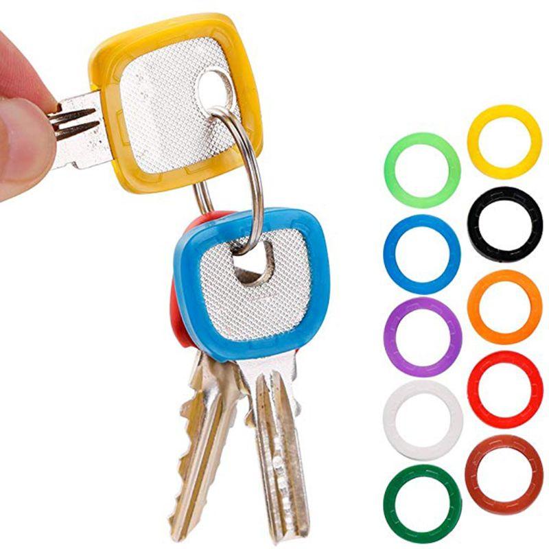 50pcs / Set Small Size ID Identify Key Ring Cap Tag Random Color
