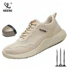 2020 New brand summer lightweight steel toecap men women work & safety boots breathable male female casual shoes plus size 37-45