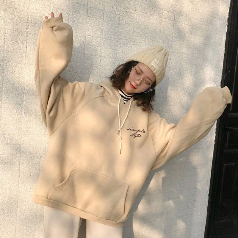 Women's Hoodies Autumn Winter Elegant Trendy Leisure Hooded Solid Pullover Students Letter Printed Long Sleeve Ladies Sweatshirt