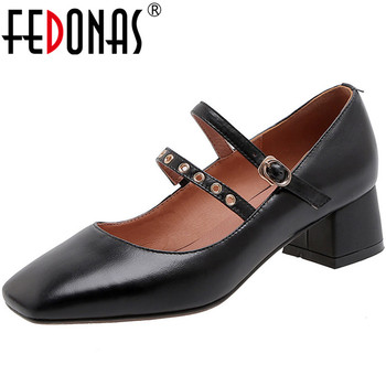 FEDONAS New Spring Summer Slip On Women Genuine Leather Party Prom Pumps Square Heels Metal Decoration Sweet Shoes Woman