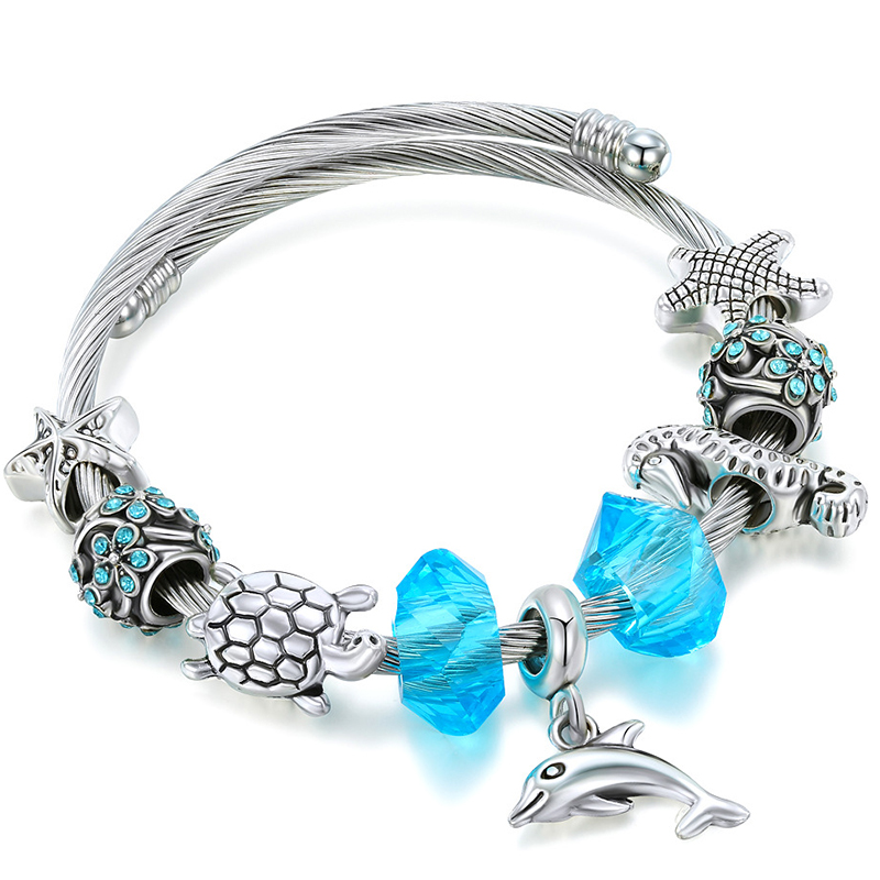2020 NEW Blue Natural Crystal Bracelet Dolphin Bangle For Women Bead Armband Brass European Fit Bracelets Love Gift(China)