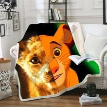 Kids Anime Lion King Simba 3D Blanket Fleece Cartoon Movie Print Children Warm Bed Throw Blanket newborn bayby Blanket style 013