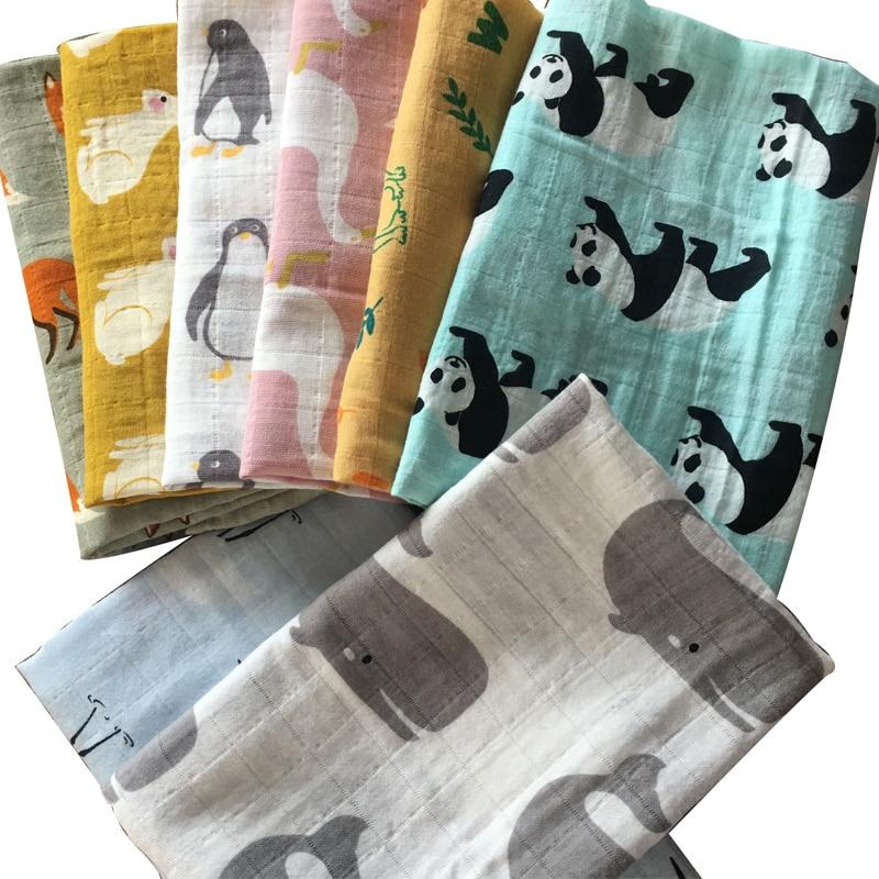Sıcak yeni bebek battaniye yenidoğan yumuşak organik pamuk bambu bebek önlükler Muslin kundak battaniyesi besleme Burpy havlu eşarp büyük bebek bezi