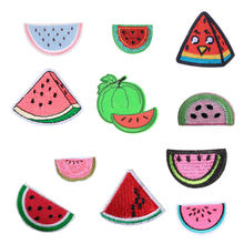 Watermelon Fruit Patch for Clothing Iron on Embroider Sew Heart Applique Cute Fabric DIY Apparel Patches Accessories Decoration(China)