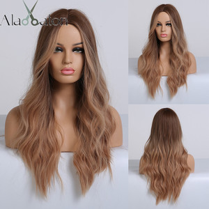 Image 1 - ALAN EATON Ombre Long Brown Red Wavy Wigs for Women Synthetic Wigs Cosplay Party False Hair Hightlight Middle Part Wigs