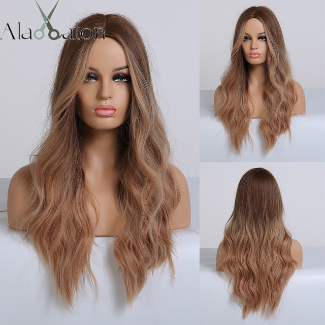 ALAN EATON Ombre Long Brown Red Wavy Wigs for Women Synthetic Wigs Cosplay Party False Hair Hightlight Middle Part Wigs