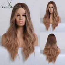 Длинные коричневые и красные волнистые парики ALAN EATON с эффектом омбре для женщин, синтетические парики для косплея, для вечеринки, искусственные волосы, светлые парики средней длины