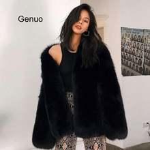 Зимнее пальто из искусственного лисьего меха женская черная