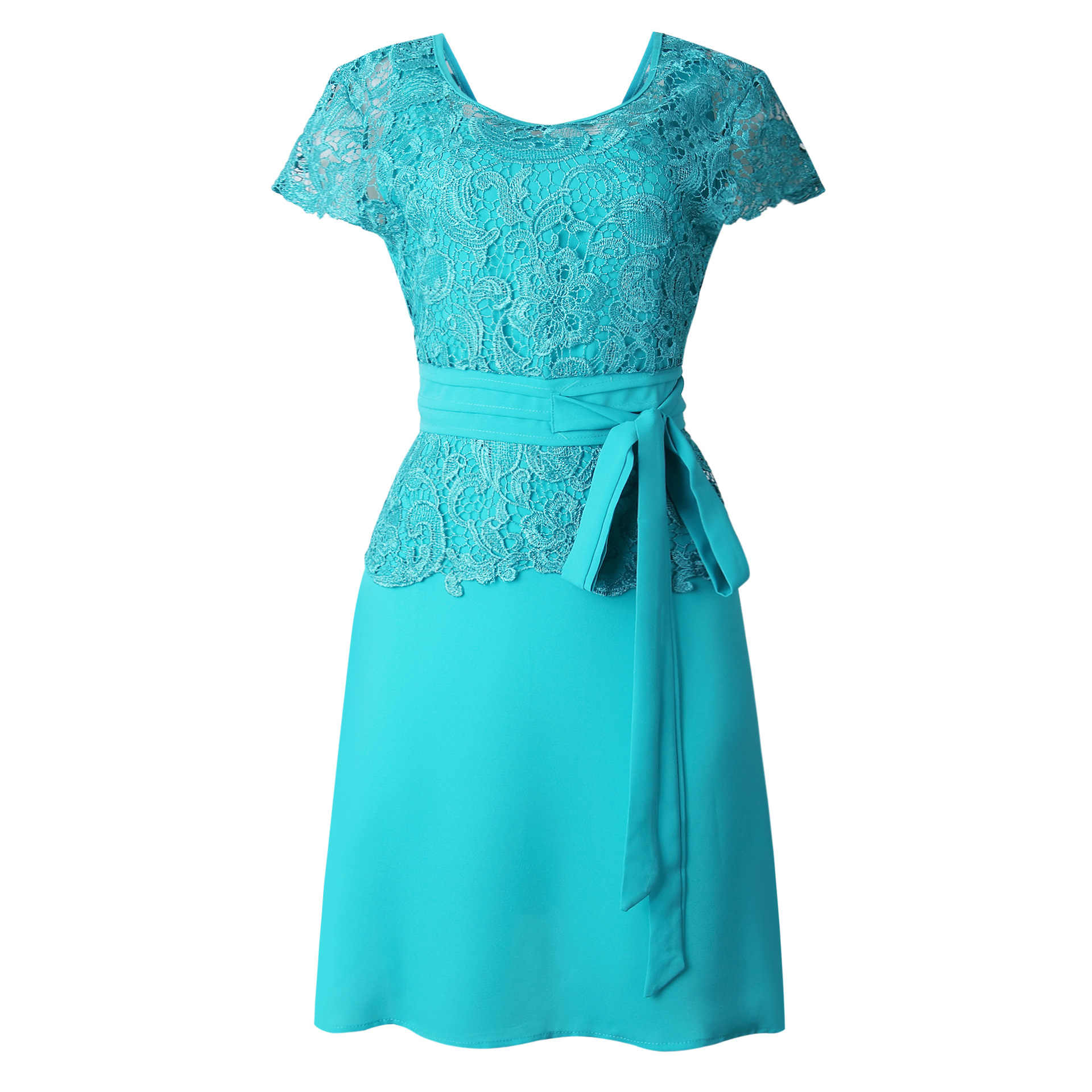 Офисное женское однотонное платье с круглым вырезом, коротким рукавом, высокой талией, трапециевидной формы, длиной до колена, женское платье с вышивкой, 3 цвета, DR002G