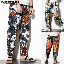 2020 Men Harem Pants Casual Joggers Loose Streetwear Vintage Pantalon Elastic Waist Cotton Trousers Ethnic Style Printed INCERUN