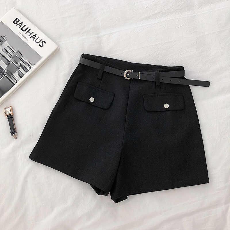 2019 Nieuwe Mode Korte Vrouwen Effen Kleur Toevallige Hoge taille Korea Stijlen Vrouwelijke Vintage Brede been shorts cc1833