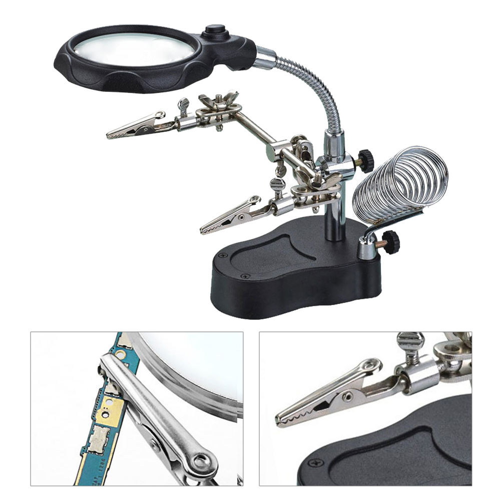 Multifunction LED Helping Magnifying Glass Soldering Iron Stand s Magnifier