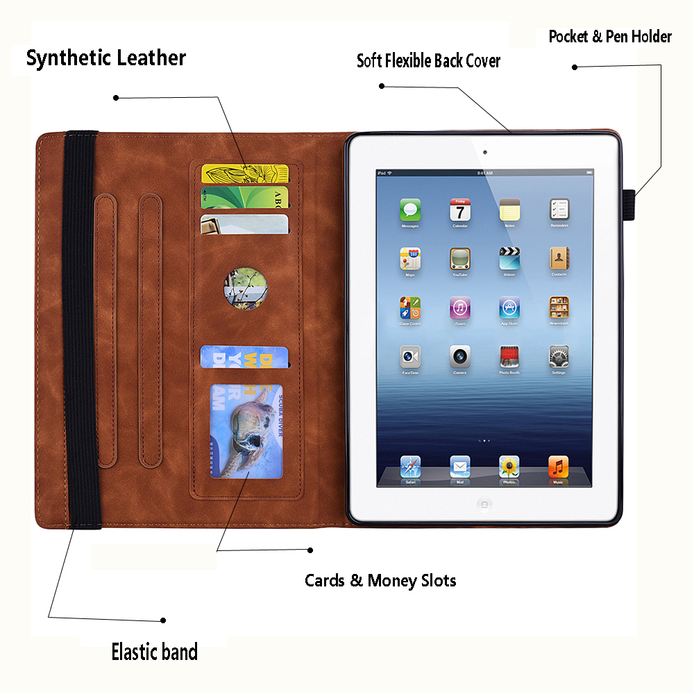 PU Pro-12.9-Case iPad Funda 4th-Generation-3rd Embossed for Folding-Stand 9-Cover Apple