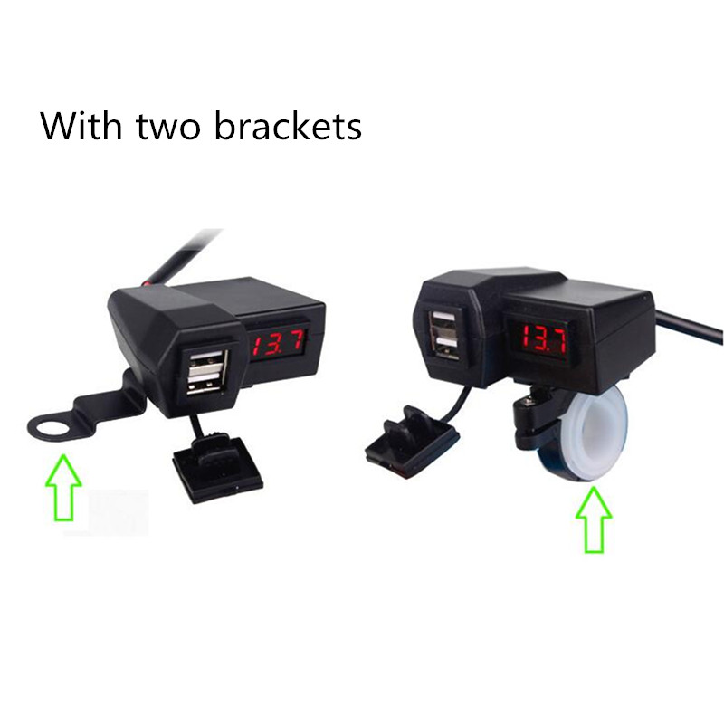 3.1A Motorcycle Accessories Car Charger Dual USB Cigarette Lighter Voltmeter Display Waterproof Wiring 60CM Double USB Adapter
