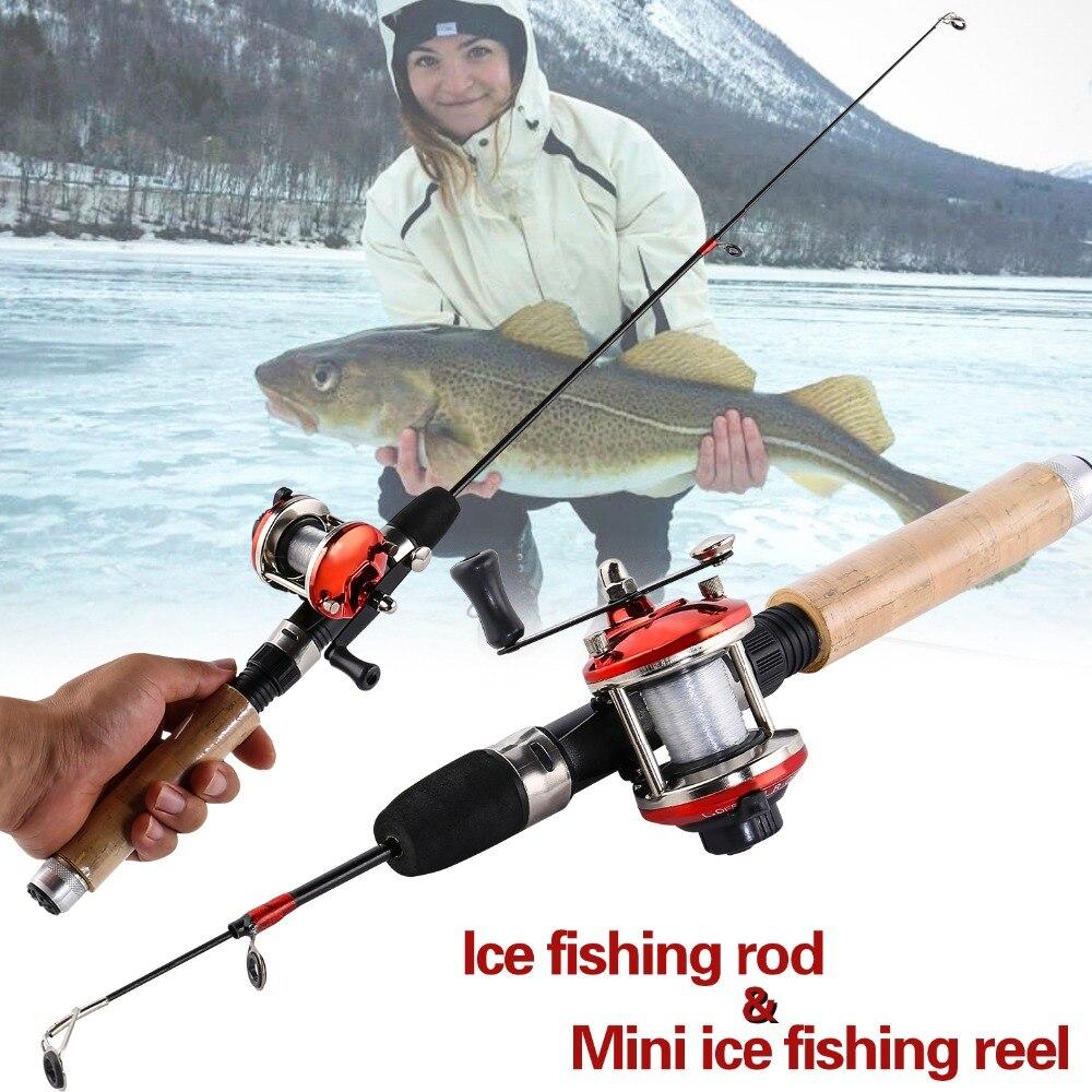 Sougayilang лед рыболовная удочка комбо 67 см углерода льда стержень с мини 2 Цвет троллинговая катушка креветки зимняя набор рыболовных снастей