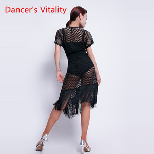 Image 3 - الرقص اللاتينية ارتداء الإناث جديد مثير الخامس الرقبة ممارسة الملابس أداء الملابس جوفاء اللاتينية التدريب شرابة فستان نصف كم