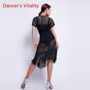 Image 3 - Ballo latino Vestiti di Prestazione Femminile di Usura New Sexy Scollo A V Abbigliamento Pratica Hollow di Formazione Latino Nappa Orli Del Vestito