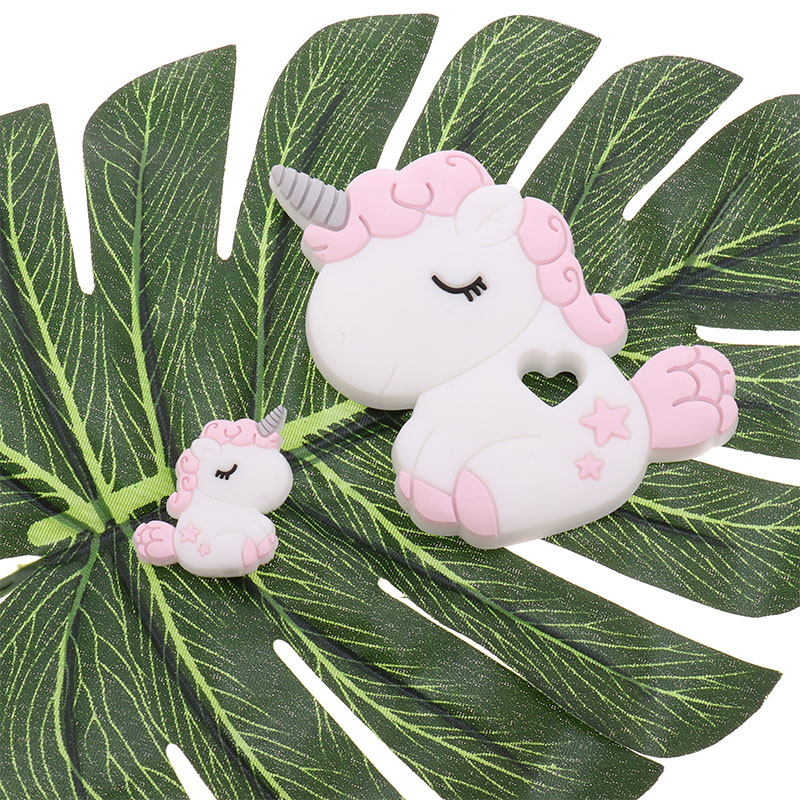 Animal 5pc Silicone Cute Unicorn Teether Chewable BPA Free Baby Teething Jewelry Pendant DIY Infant Pacifier Chain Shower Gifts