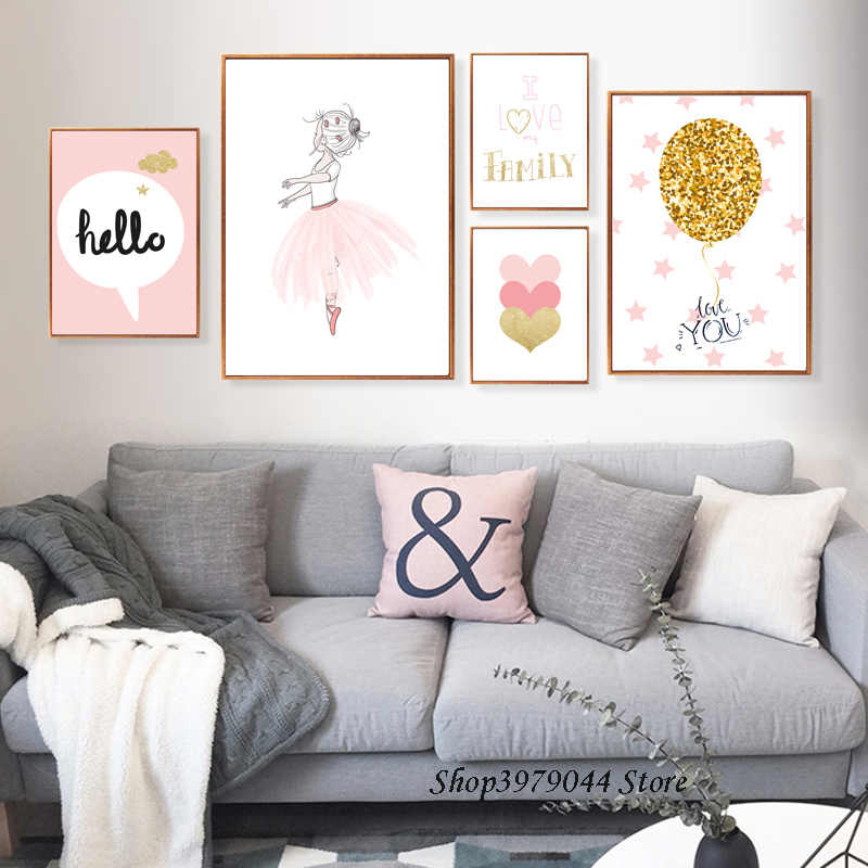 Love Nordic Poster Pink Cartoon Swan Posters And Prints Baby Room Nursery Canvas Painting Cute Girl Decoracion Nordica Unframed