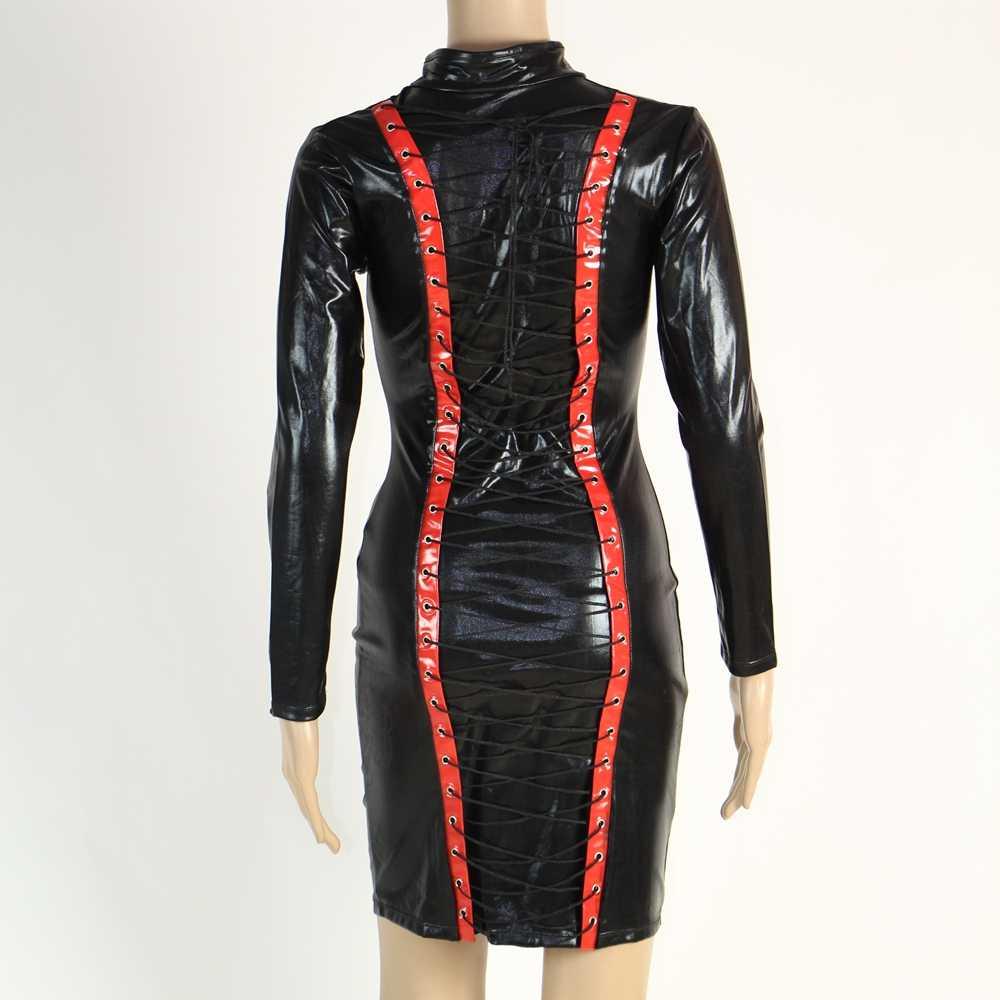 Leder Bleistift Kleid Sexy Schwarz PVC Leder Gothic Midi Kleid Spitze Up Bondage Latex Clubwear Lange Zipper Wetlook Vinyl Kleider