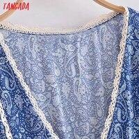 Tangada 2021 Women Print French Style Lace Patchwork Dress Flare Short Sleeve Ladies Long Dress Vestidos 3H239 2