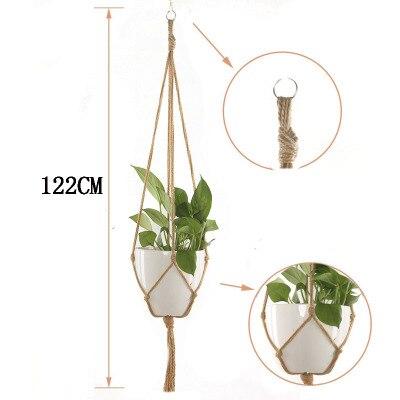 Завязанная Подвеска для растений из макраме крючок Винтаж хлопок белье цветочный горшок корзина подъемная веревка подвесная корзина горшок держатель садовые инструменты - Цвет: 122cm
