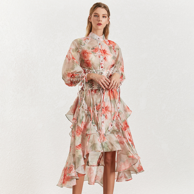 Image 4 - TWOTINSTYLE Vintage Print Women's Dress Stand Collar Lantern Sleeves Bandages High Waist Asymmetrical Print Dresses Female 2019-in Dresses from Women's Clothing
