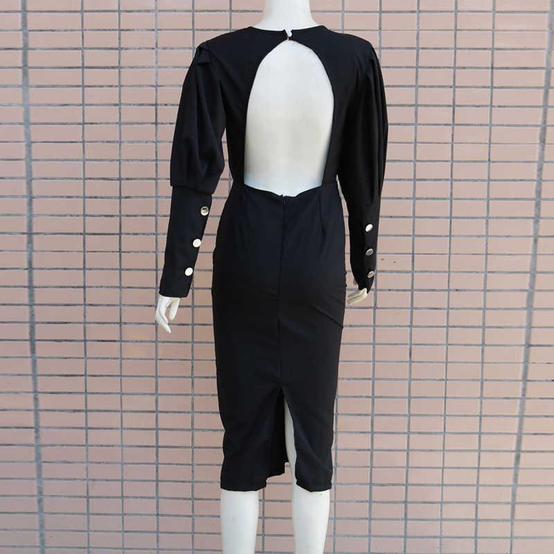 Fanbety ליידי שחור פאף שרוול סדק שמלת נשים סקסי ללא משענת שרוול ארוך שמלת סתיו אלגנטי באורך הברך מפלגה שמלה vestidos