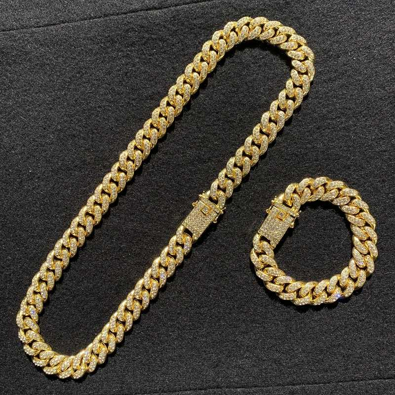 גברים של יוקרה זהב שעון דולר שרשרת תליון צמיד שילוב חליפת קרח קובה שרשרת שרשרת היפ הופ ראפר גברים של תכשיטים