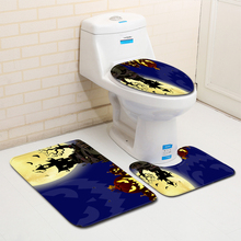 Happy Halloween Shower Mat Witch Pumpkin Lantern Bathroom Decoration Carpet Anti slip Flannel Toilet Seat Cover Bath Set