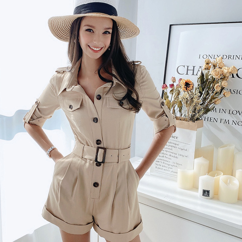 Dabuwawa Safari Style Button Front Romper Women High Waist Solid Streetwear Slash Playsuit Rompers Female Slim Fit DT1AJP004