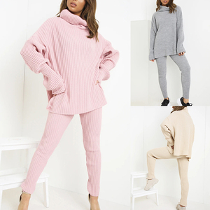 Knitted Women Sweater Sets Long Sleeve Turtleneck Sweaters Tops And Long Pants Set Autumn Solid 2 Pieces Outfits 2020 Winter