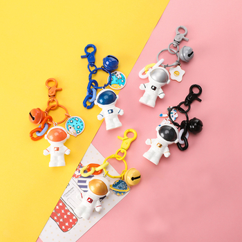 Creative Astronaut Keychain Key Rings With Bell Key-ring Charm bt21 keyring Adventure Jewelry Metal llaveros Keychain For Men image