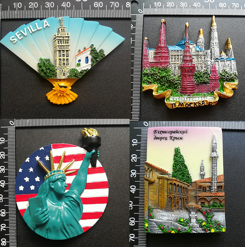 Seville Moscow Russia Refrigerator Magnets Alaska San Francisco Florida Statue of Liberty New York USA Tourist Souvenirs Magnets image