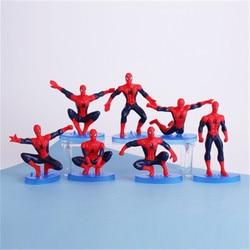 Disney Марвел, Мстители, паук Человек 7 шт./компл. 7-12 см фигурку положения коллекция украшений аниме фигурка игрушки модели для детей