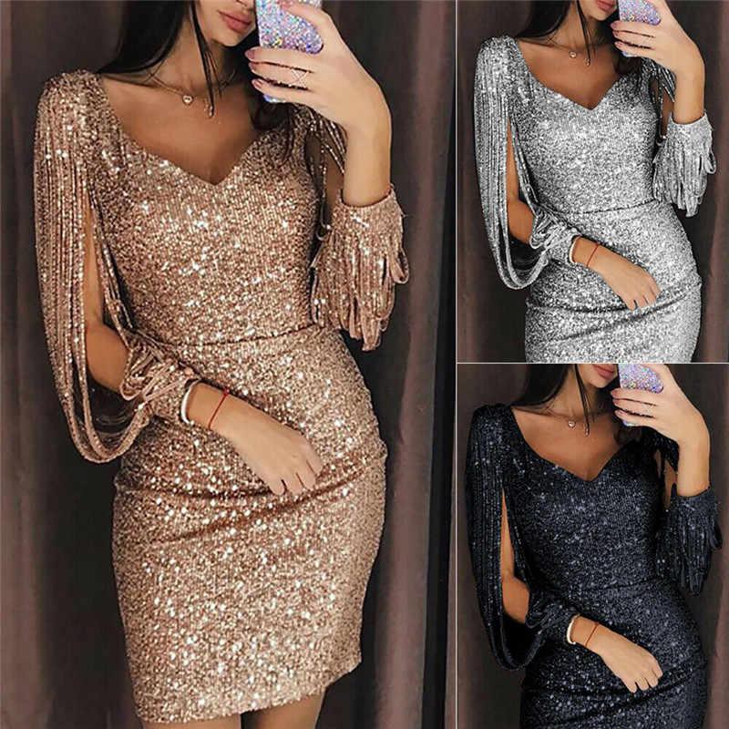 2019 yeni varış kadın püsküller altın gümüş payetli bandaj akşam parti elbise yaz V boyun gece elbisesi paket kalça elbise