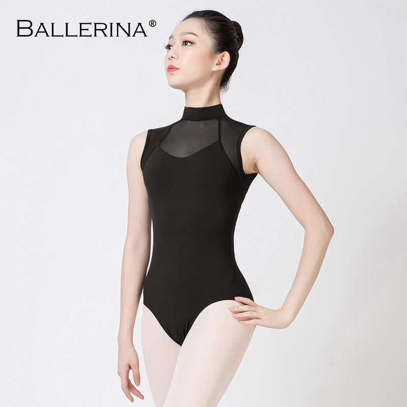 Ballerina Ballet Leotard For Women Dance Costume Sexy Aerialist Mesh Turtleneck Sleeveless Gymnastics Leotard 5686