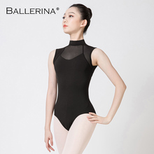 Ballet leotardo de bailarina para traje de baile femenino, malla aerista Sexy de cuello alto sin mangas para gimnasia, leotardo 5686